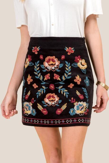 306a479a7e Gabby Embroidered Velvet Skirt | •clothes• in 2019 | Velvet skirt ...