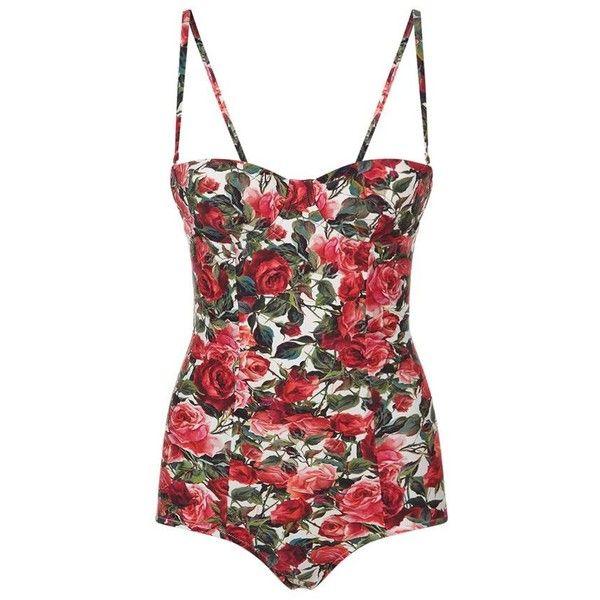 Dolce & Gabbana Rose Print Balconette Swimsuit (£365) ❤ liked on Polyvore featuring swimwear, one-piece swimsuits, shelf bra, swimsuit swimwear, underwire swimwear, underwire bra and swim suits