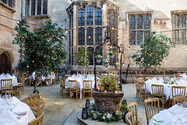 Real Wedding: Joanne and Rob transformed the courtyard at Tudor mansion Hengrave Hall into an enchanted Mediterranean garden