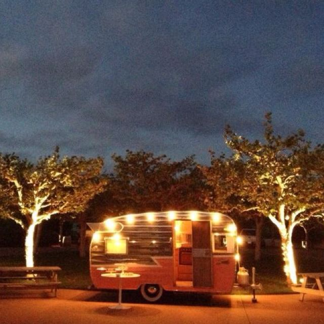 Vintage Trailer + Beach Camping...hang string lights...wish we could own a vintage camper like ...