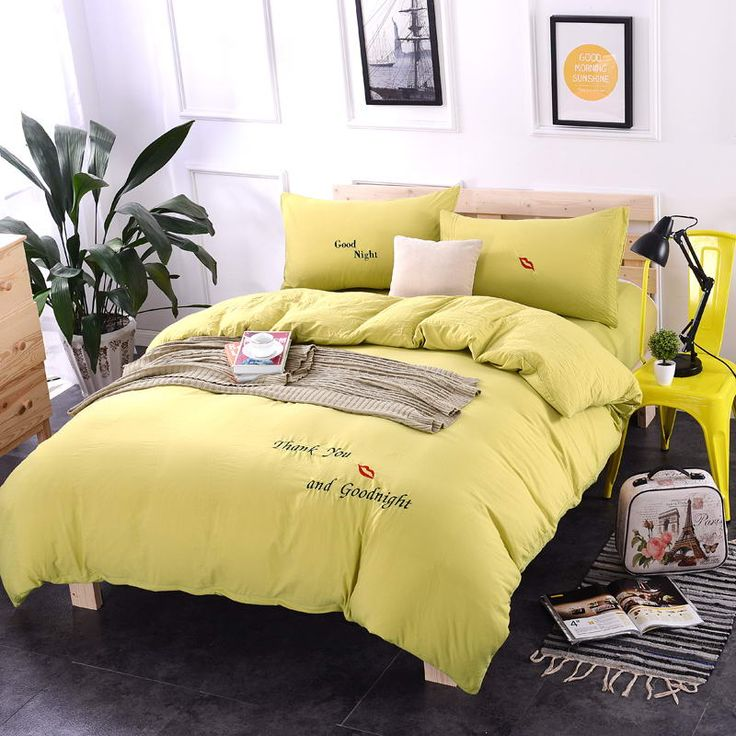 xinlanisnow spring washed cotton princess wind embroidery bright yellow bedding sets duvet cover set bed sheet pillowcase king q