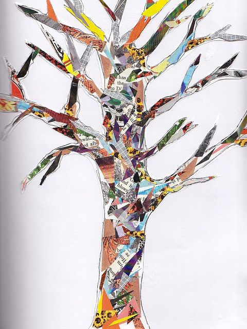 collage tree,maybe paint on some cute leaves and fruit tie to: collage
