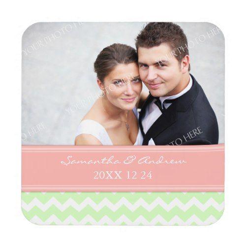 Wedding Favor Mint Coral Chevron Photo Coasters