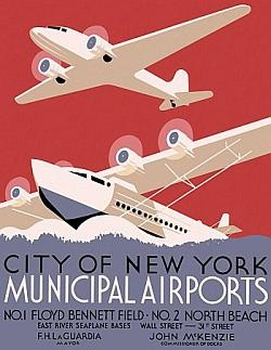 Vintage Posters - City of New York municipal airports No 1 Floyd Bennett Field No 2 North Beach WPA Posters - WPA Posters