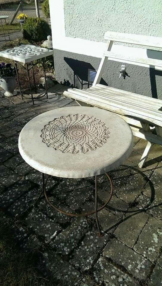 Concrete doily tabletop