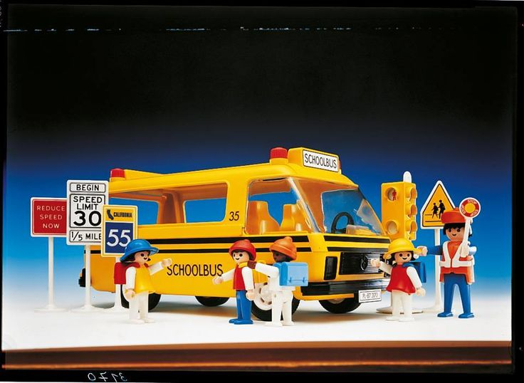 A product shot of the Playmobil School Bus from 1986