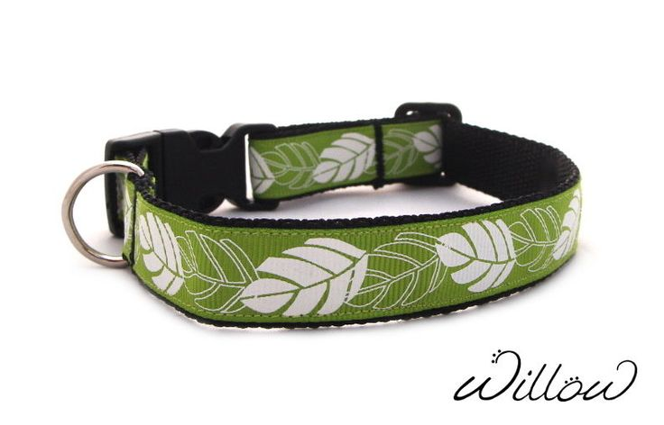S Small Green Leaves Dog Collar Handmade Designer Pattern Small Adjustable NEW #Handmade #DogCollar #SmallBreed #Puppies