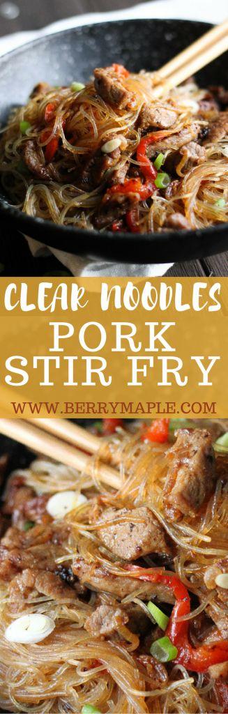 clear noodles pork stir fry recipe www.berrymaple.com #clearnoodles#pasta#stirfry#pork#asian