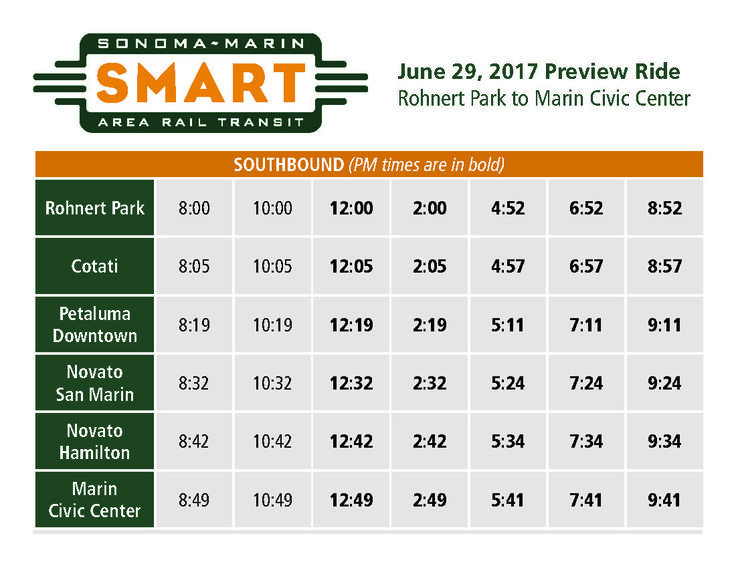 SMART is kicking-off the free preview rides with three runs on Thursday, June 29; Saturday, July 1; and Tuesday July 4, including preview rides in connection with the Marin County Fair. On Thursday, June 29, SMART will offer roundtrip public preview rides between its Rohnert Park and Marin Civic Center stations:
