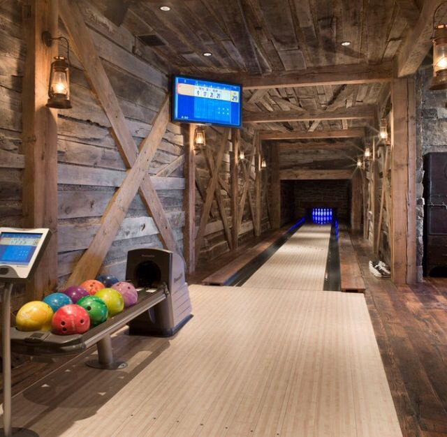 Basement Remodel: Rustic Interiors - Home Bowling Alley
