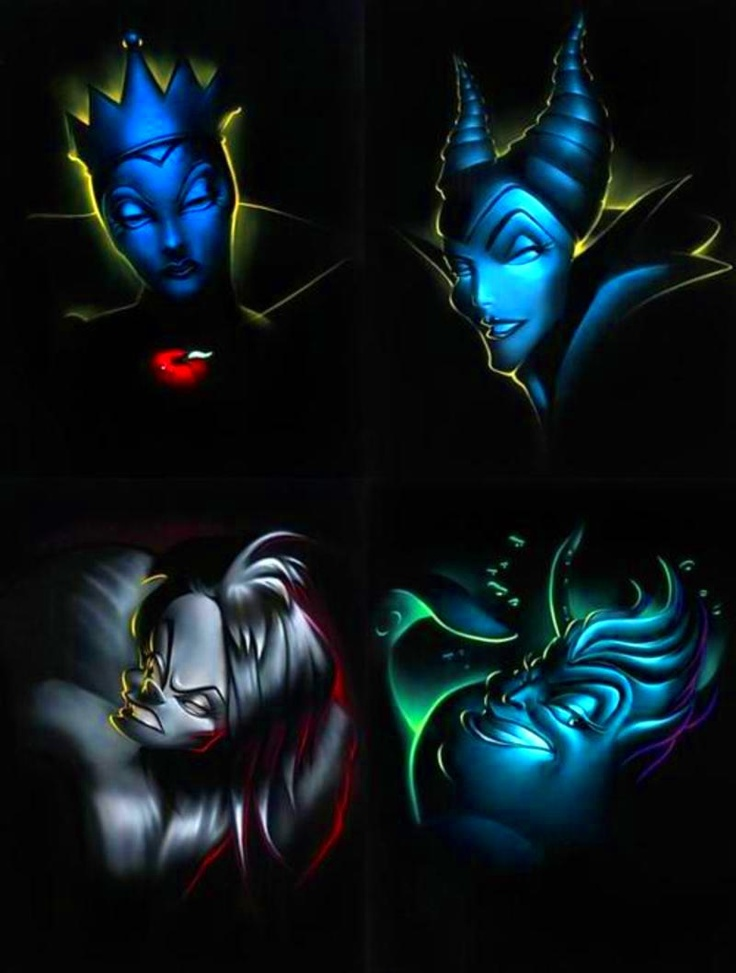 The Queens of Darkness: The Evil Queen Grimhilde, Maleficent, Cruella, and Ursula.