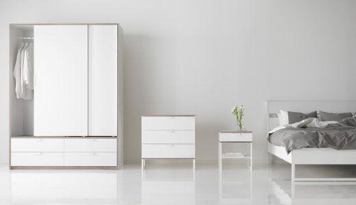 TRYSIL Serie, hier u. a. mit TRYSIL Schrank mit Schiebetüren und 4 Schubladen in Weiß/Hellgrau