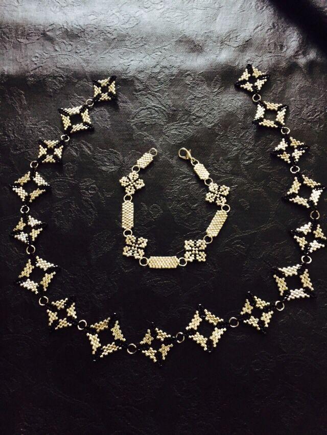 Collier et bracelet Chic en perles Miyuki noir et argent simple mais efficace !!