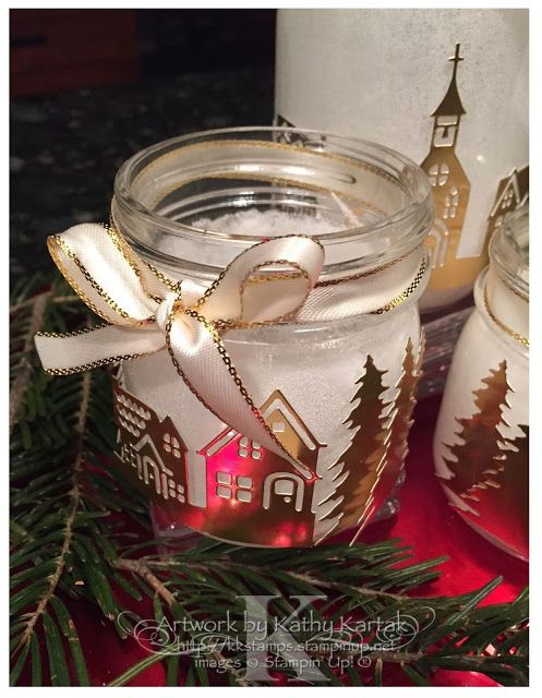 Faithful INKspirations: Creation Station: Metallics Gone Wild--I used Stampin' Up's Hometown Greetings Thinlits to cut these scenes from Gold Foil Sheets. Details on making these super simple votives are on my blog.