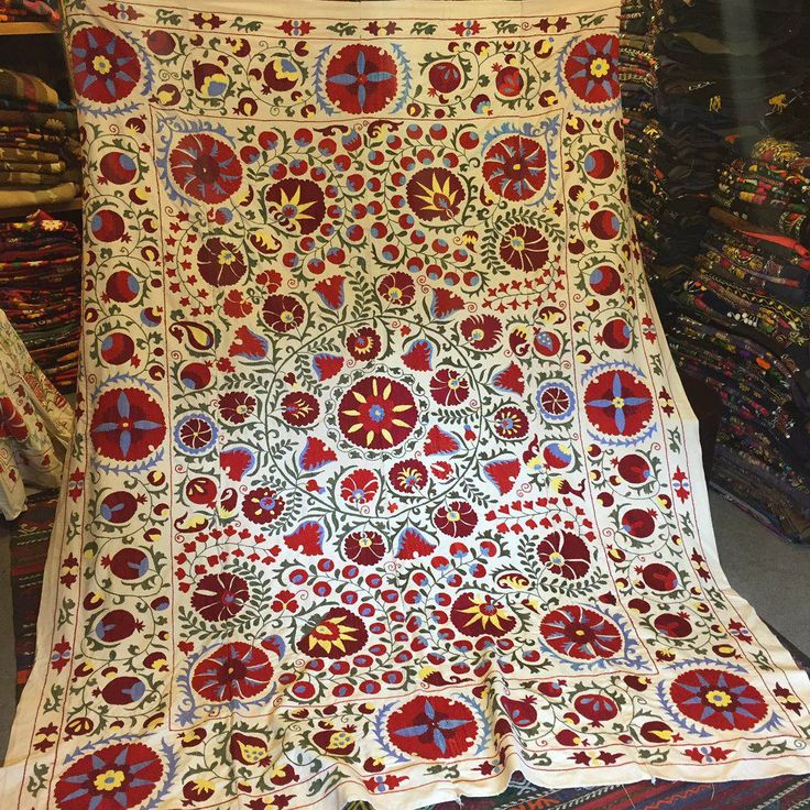 "LARGE HANDMADE SUZANI THROW / BED COVER 90""x78"" ( 230 cm x 200  cm ), 003"