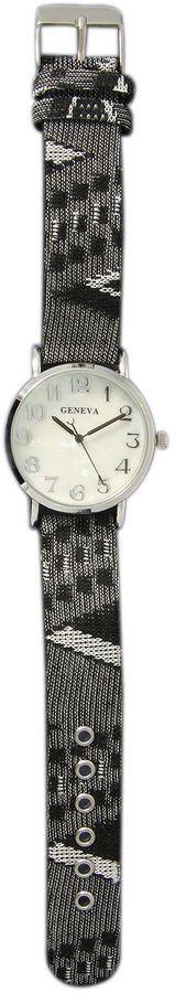 OLIVIA PRATT Olivia Pratt Womens Silver-Tone Faux Mop Dial Grey-Black Patterned Fabric Strap Watch 10352Tr
