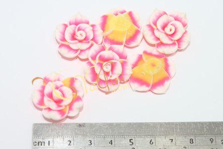 Aplikasi Clay Bunga Tanggung 3cm - Pink Fanta - yagini.com - 085641416429 - 3