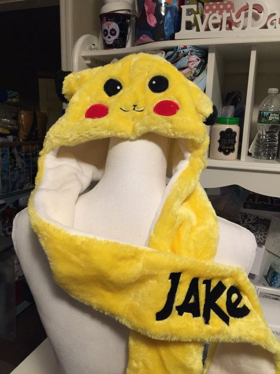 POKEMON Pikachu hat with scarf mittens  Personalized by CACBaskets
