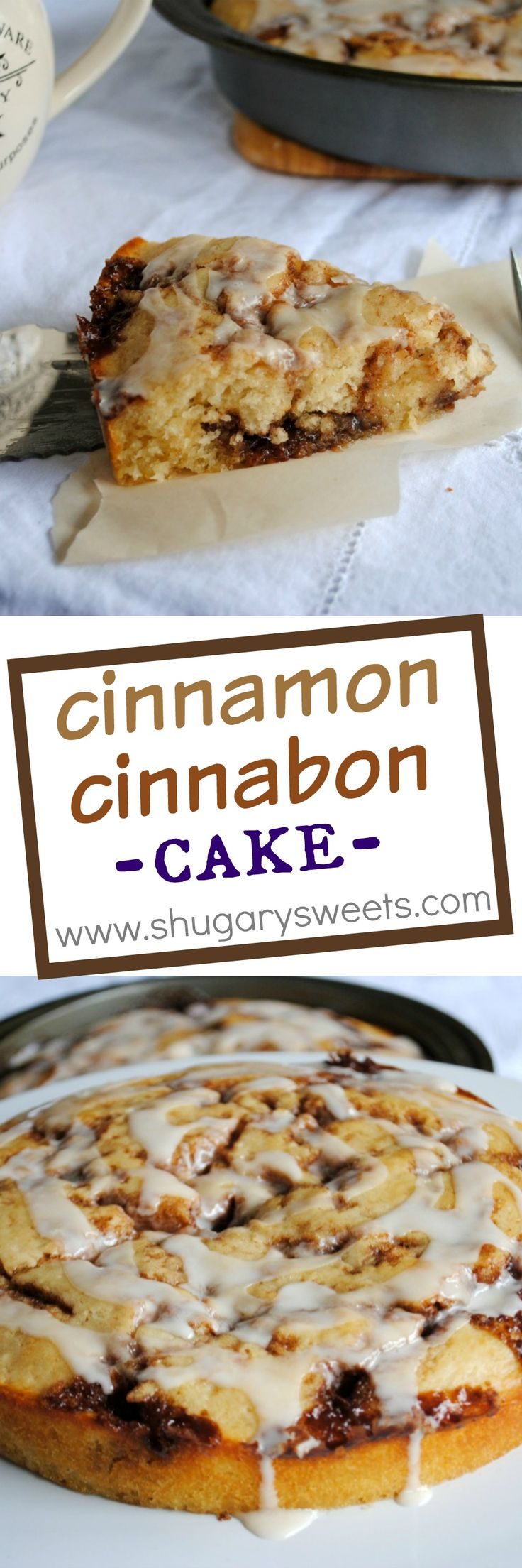 Cinnabon cinnamon roll cake: delicious breakfast recipe. Easy to make and yields TWO cakes. Freezes well too!
