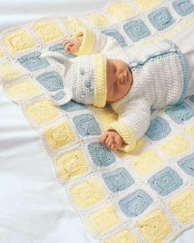 122 best free baby patterns to knit or crochet images on pinterest adorable crocheted baby set with an unforgettable rabbit hat shown in bernat cottontots fandeluxe Images
