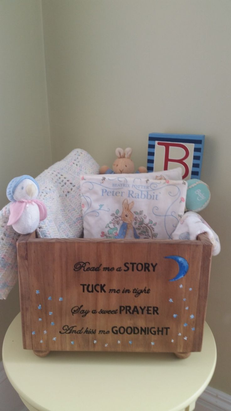 Book box, Book baby shower, Nursery decor, New baby gift, Moon and stars, Read a story, Personalize, Good night moon, Book bin, Book storage by CarriageOnCherry on Etsy https://www.etsy.com/listing/205270236/book-box-book-baby-shower-nursery-decor