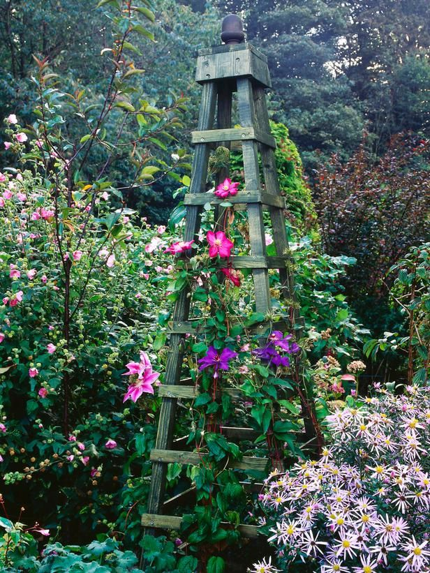 Make an Obelisk for Climbing Plants  Wooden obelisks suit almost any garden design. Use them draped with clematis or other flowering climbers to add height to a border, as a feature to flank an entrance or to create a focal point at the end of a walkway.