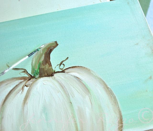 How to paint a pumpkin canvas, art skills not required!!!highlighting the stem