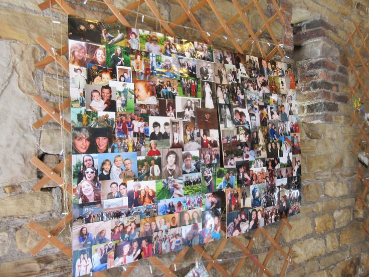 Photo collage of wedding guests. DIY wedding.