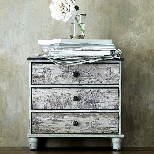 Toile de jouy puro charme rustic dresser side tables for Toile shabby chic