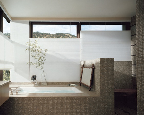 Your own private bathroom spa retreat with top-down/bottom-up operation––Duette® honeycomb shades ♦ Hunter Douglas window treatments