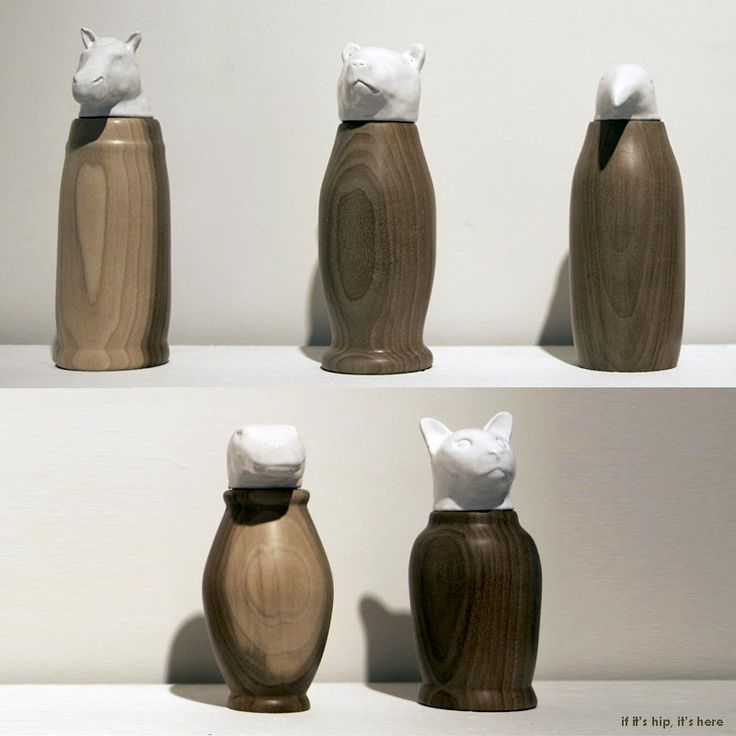If It's Hip, It's Here: Elegant Animal Head Urns of Ceramic and Wood by Artist Lorien Stern