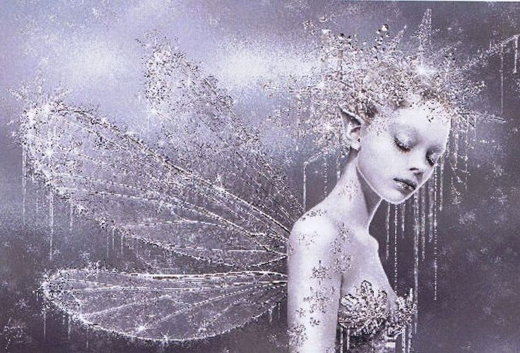 A lovely fantasy picture of a glittering fairy with frost and icicles in shades of grey.