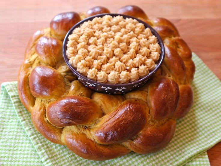 Pumpkin Challah with Honey Butter  Centerpiece
