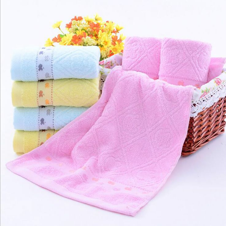 Cotton Hand Towels (Blue,Pink,Yellow,1-piece,35x75cm) Bath, Hand, Face, Gym and Spa