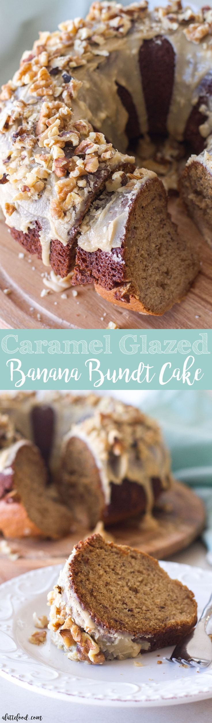This easy banana bundt cake is topped with the richest caramel glaze! This is the perfect way to use up any leftover bananas!