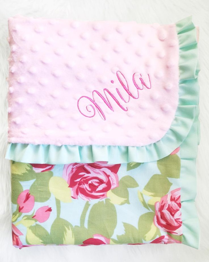 Roses cotton and minky baby girl blanket with turquoise ruffle. Handmade by Dot Dot Baby embroidered personalized pink nursery decor crib blanket