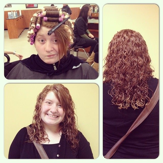 perm on pink and beige rods