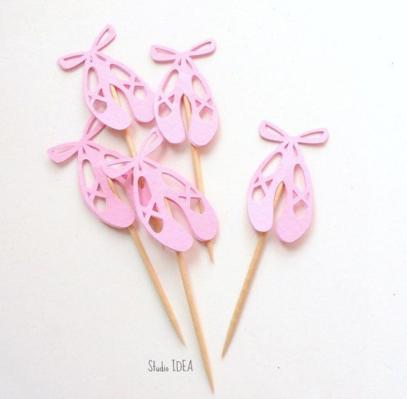 12 Pink Ballet Shoes Cupcake Toppers Ballerina Shoes by StudioIdea