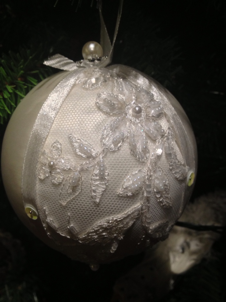 Silk and lace christmas ornament
