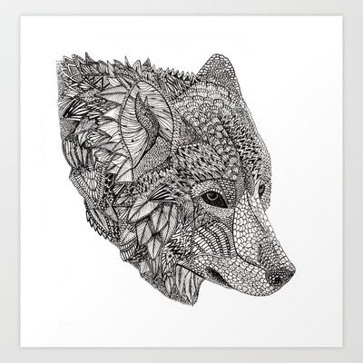 Tribal Wolf Art Print by Lily Livingston - $17.68