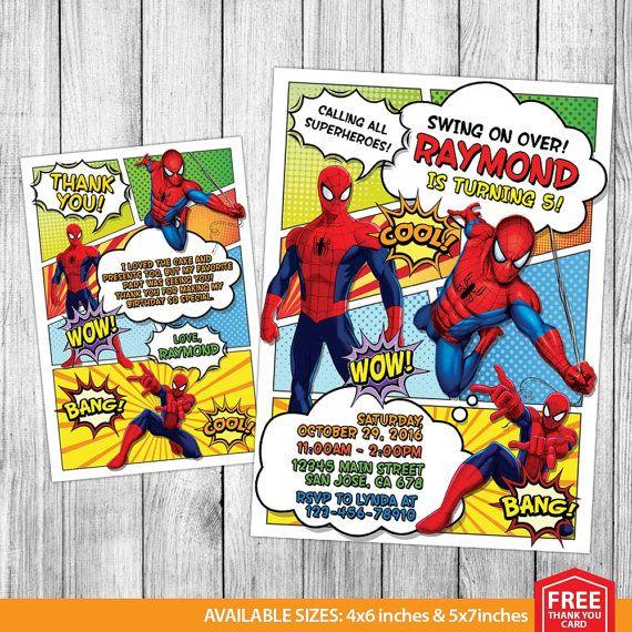 Invitación Spiderman, cumpleaños de Spiderman, Spiderman invitar, fiesta Spiderman, imprimibles de Spiderman, Spiderman Custom, tarjeta 4 x 6 GRATIS muchas gracias  Este listado de productos es para una personalizar cumpleaños invitación en ARCHIVO DIGITAL para IMPRIMIR. NINGÚN ELEMENTO FÍSICO será enviado a usted.  ►►►PERSONALIZATION SERVICIO: ◄◄◄ Se personalizar tu invitación de cumpleaños. Su personalizar cumpleaños invitación llegará en forma de una resolución de alta 300dpi JPG archivo…