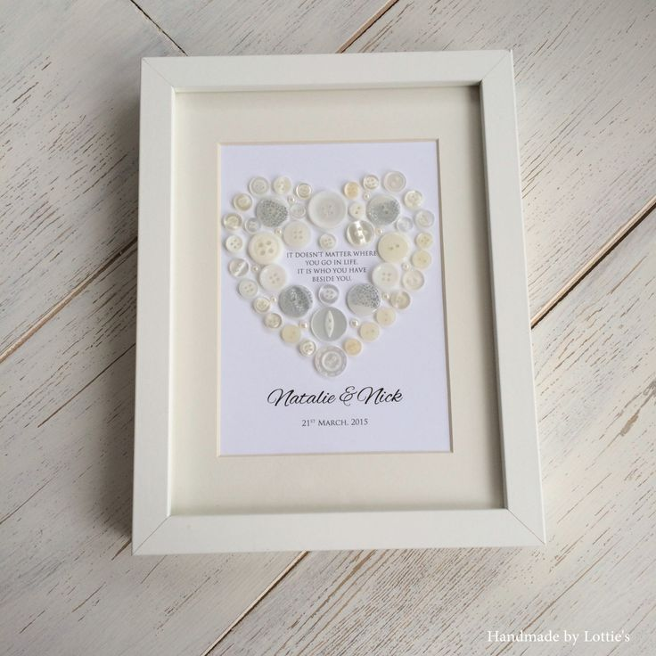 Unique Wedding Gift - Framed Button Heart Picture - Unique wedding present - Personalised wedding present by Madebylotties on Etsy