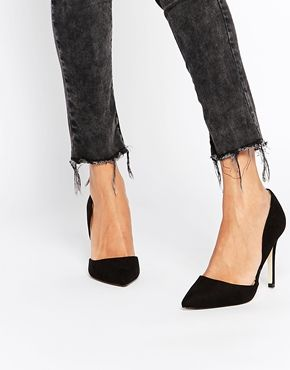 Head Over Heels Callina Black Point Toe Two Part Heeled Shoes