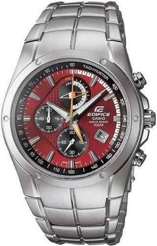 f25cf830fd1 Casio EF516D-4A Mens Watch Stainless Steel Edifice Red Dial Orange Accent