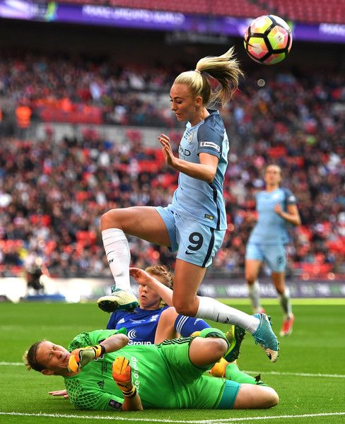 Ann-Katrin Berger of Birmingham City Ladies saves from Toni Duggan of Manchester City during the SSE Women's FA Cup Final between Birmingham City Ladies and Manchester City Women at Wembley Stadium on May 13, 2017 in London, England.