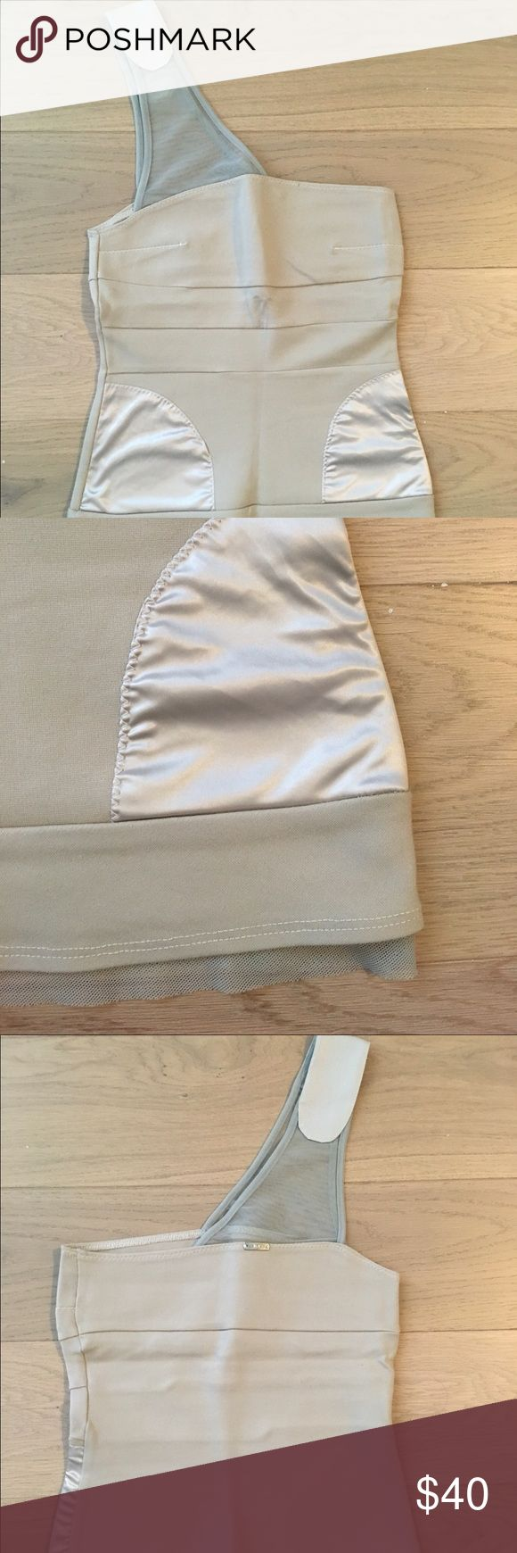 VPL Mesh Trim Corset Tank Alabaster color fitted corset tank with mesh trims from VPL, one shoulder design, satin-like patches on front, 100% polyester, great condition (only worn once) VPL Tops Tank Tops