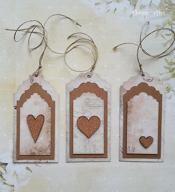 Eco style - tags with cork hearts