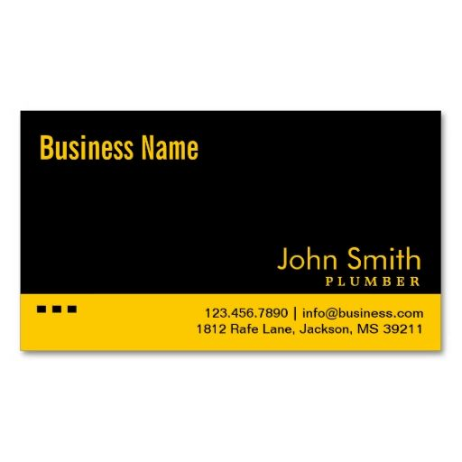 21 best tm business cards images on pinterest card patterns plain black yellow plumber business card colourmoves