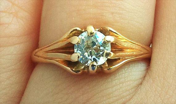 SALE Art Deco Nouveau .51ct Old Mine Cut Diamond Belcher 14K