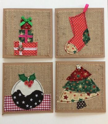 Pack of 4 handmade Christmas cards.  Featuring raw edge applique and…